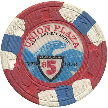 Union Plaza $5 red (white/blue inserts) chip