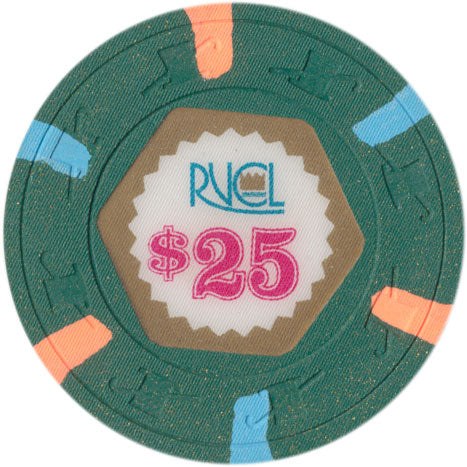 Royal Venture Cruise Line RVCL $25 Chip Peach/lt. Blue edge spots