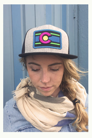 Neon | Colorado Flag - Flat brim hat - Skyflower Boutique