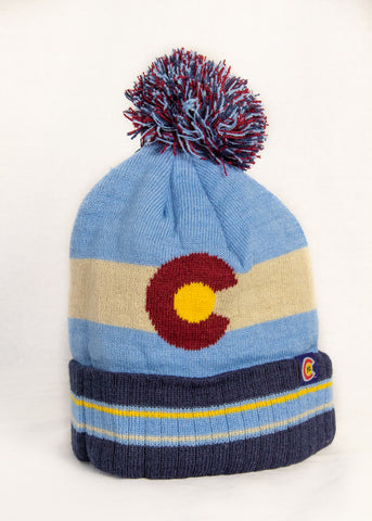 Blue Tint Colorado Flag Knit Hat - Kids