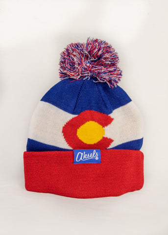 Pom Pom Colorado Flag Knit Hat Kids