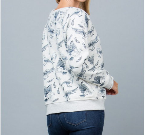 Bird Print Fashion Sweatshirt - Skyflower Boutique