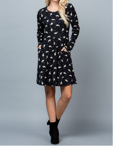 Llama Print Love Knit Dress - Skyflower Boutique