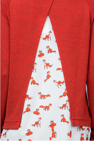 Knit Fox Print Sweater - Skyflower Boutique