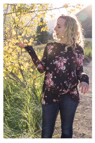 Floral Long Sleeve Top with Tie - Skyflower Boutique