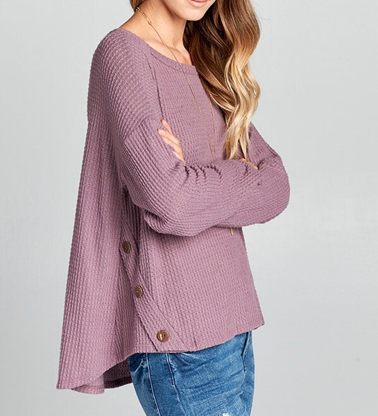 Knit sweater with buttons - lavender - Skyflower Boutique