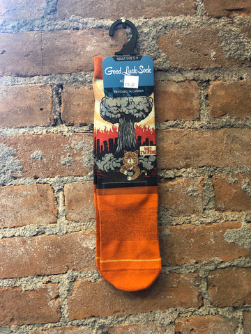 Funny Cat End of World Sock - Skyflower Boutique