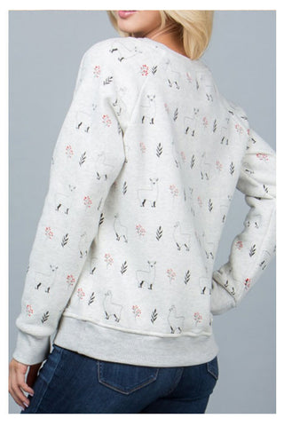 All over Lama Print Sweatshirt - Skyflower Boutique
