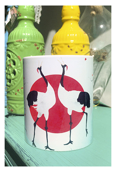 Crane and Cherry Blossom | Mug - Skyflower Boutique