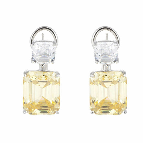 Fantasia EF1209 Asscher cut drop earring canary and cz Pumpz