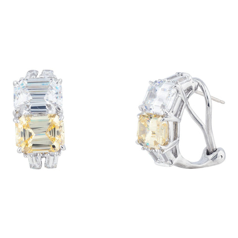 Fantasia EF1270 double asscher hoop with canary and CZ Pumpz