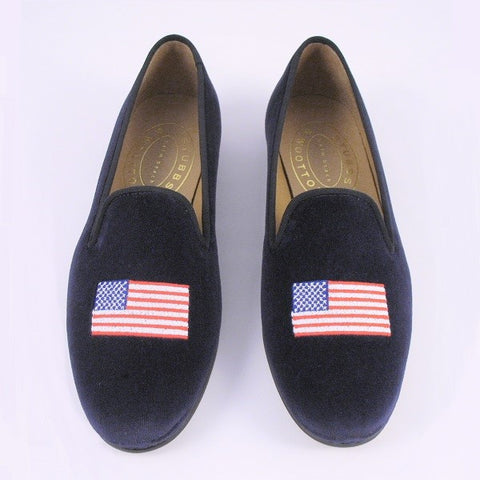 Stubbs & Wootton Velvet American Flag Loafer