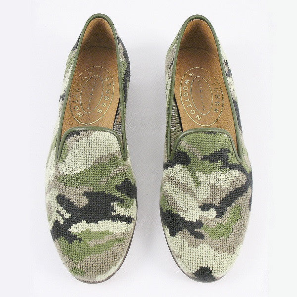 Stubbs & Wootton Needlepoint Camo Slipper