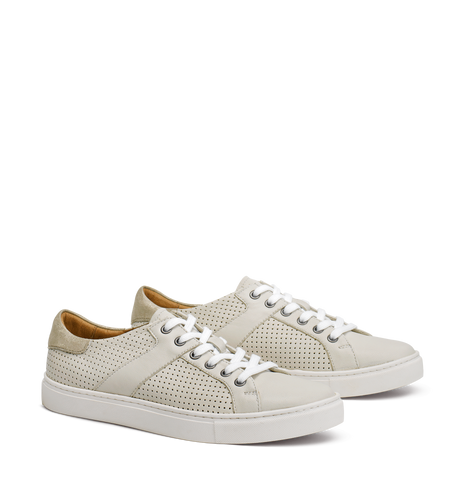 Trask Lindsey Sneaker in White Italian Washed Sheepskin