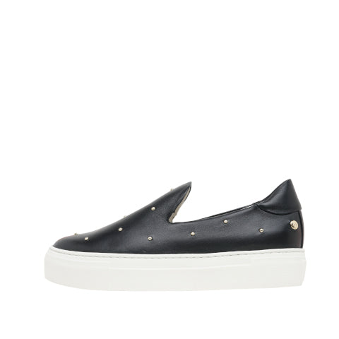 AGL Black Slip On Sneaker with Studs