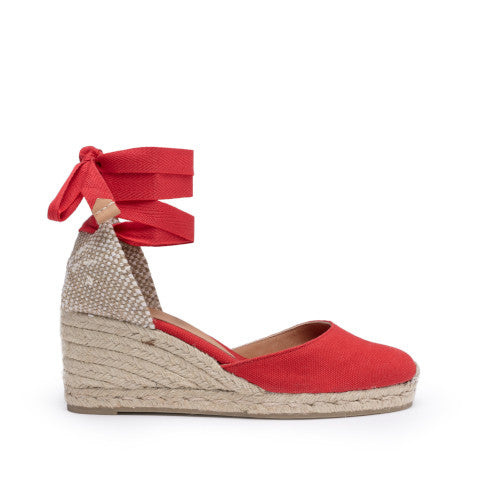 Castaner Carina Canvas Wedge Espadrille in Ruby Red