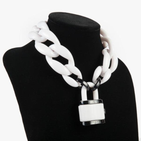 Diana Broussard Chain Link Necklace with Lock