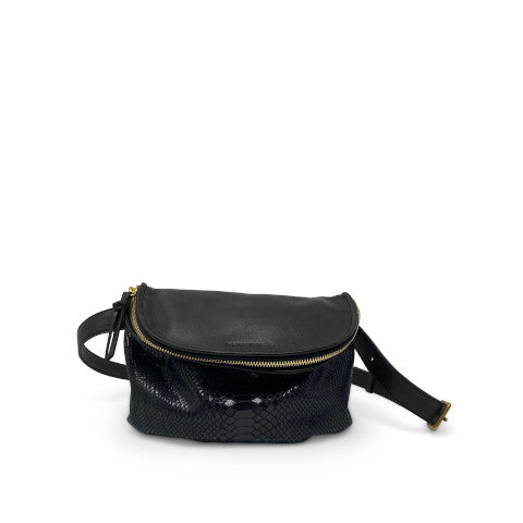Kempton Black Snake Skin Furtivo Belt Bag Pumpz