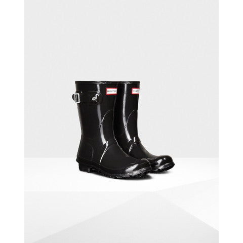 Hunter Short Black Glossy Rain Boot