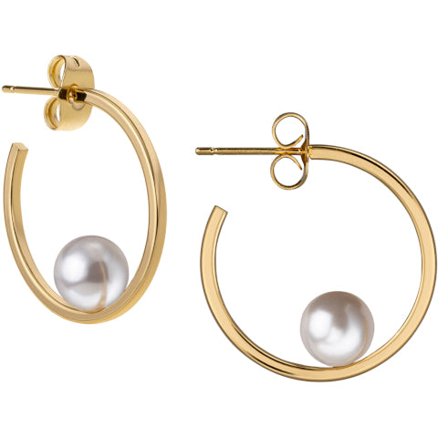Janis Savitt Gold and White Pearl Hoop Earrings