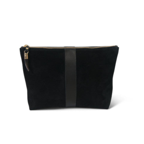 Kempton & Co. Black Suede and Leather Medium Pouch