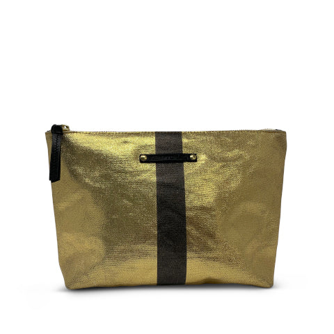 Kempton & Co. Gold Canvas Black Stripe Pouch