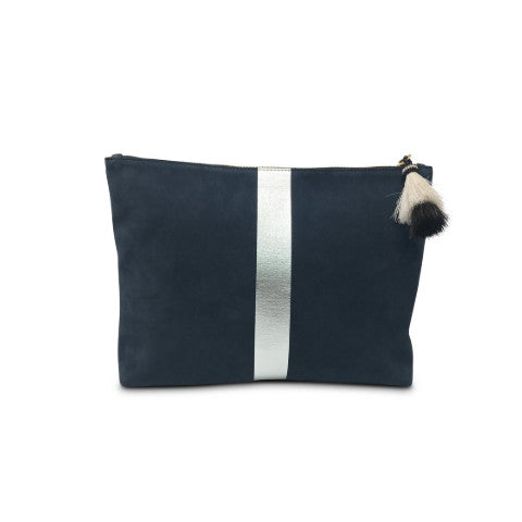 Kempton & Co. Navy Suede and Leather Medium Pouch with Silver Stripe