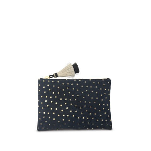Kempton & Co. Navy Suede with Gold Foil Stars Small Pouch