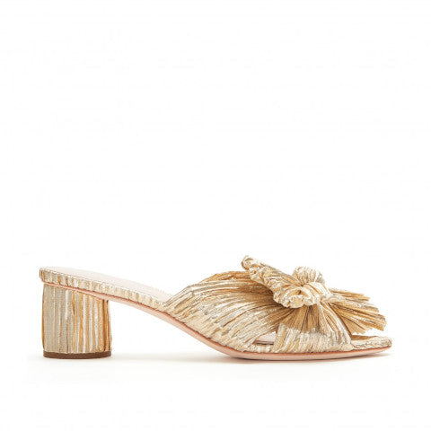 Loeffler Randall Emilia Gold Pleated Knot Slide