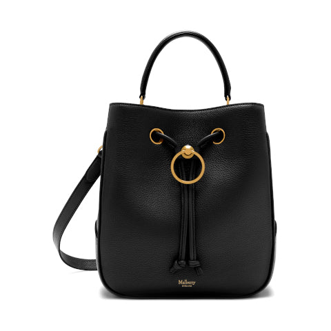 Mulberry Black Classic Grain Hampstead Bucket Bag