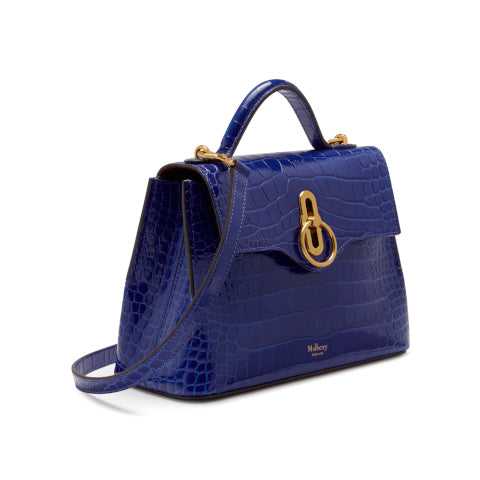 Mulberry Mini Seaton Cobalt Croc Handbag