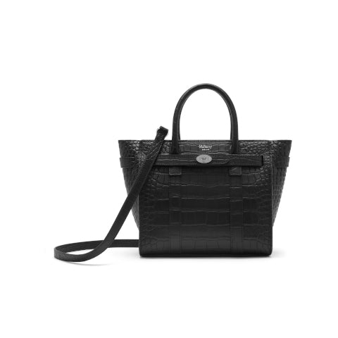 Mulberry Black Matte Croc Embossed Mini Zipped Bayswater Handbag