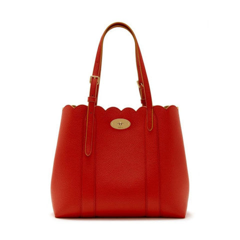 Mulberry Small Bayswater Scalloped Tote in Hibiscus Red