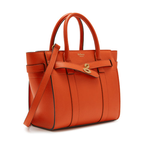Mulberry Tangerine Orange Mini Zipped Bayswater Handbag