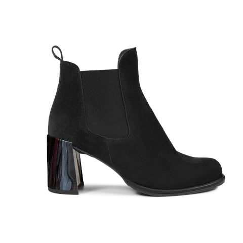 Pedro Garcia Walda Black Suede Boot with Chrome Heel