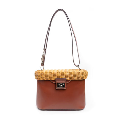 RODO Wicker and Leather Shoulder Bag