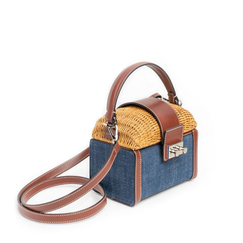 RODO Wicker and Denim Beauty Bag
