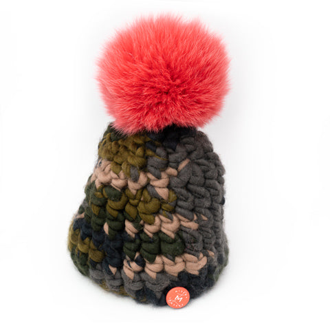 Mischa Lampert Camo Beanie with Coral Fur Pom