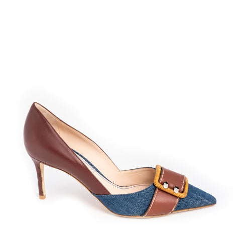 Rodo leather and denim pump Pumpz
