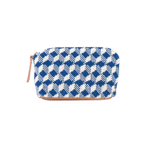 Stubbs & Wootton Needlepoint Pouch in Stair Indigo