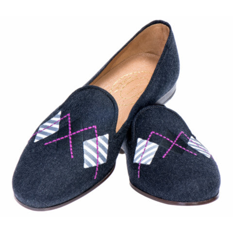 Stubbs & Wootton Gray Flannel Argyle Slippers