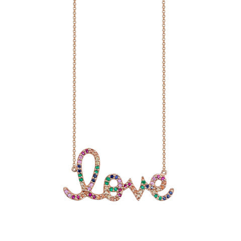 Sydney Evan Large Rainbow Love Necklace