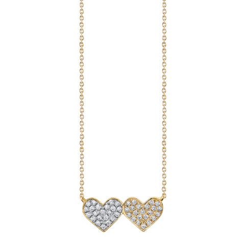 Sydney Evan Medium Silver and Gold Diamond Heart Necklace