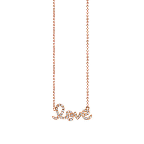Sydney Evan Small Rose Gold Diamond Love Necklace