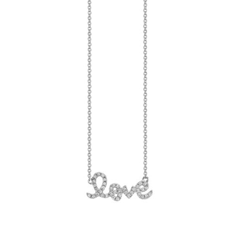 Sydney Evan Small White Gold Diamond Love Necklace