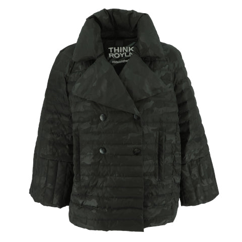 Think Royln 'The Marilyn' Pea Coat in Black Camo
