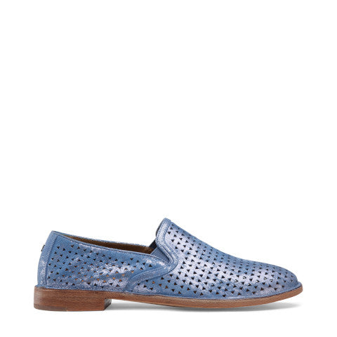 Trask Ali Perf Slip-On in Blue Metallic Suede