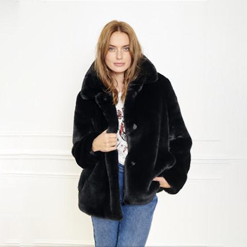 MKT Studio Black Faux Fur Mini Coat