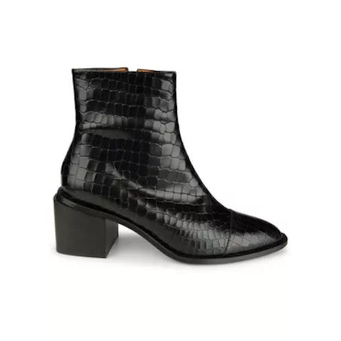 Robert Clergerie Xiana Black Croc Boot Pumpz
