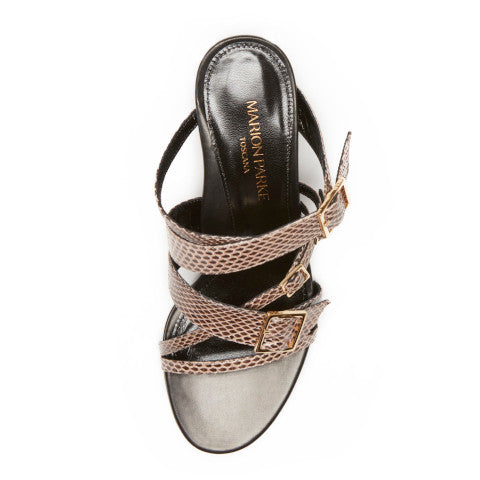 Marion Parke Becca Snakeskin sandal with buckles Pumpz